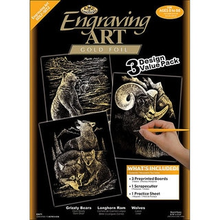 Engraving Art Grizzly Bears/ Rams/ Wolves Gold Foil Art (Pack of 3)