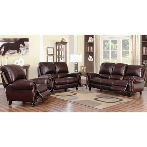 Abbyson Madison Top Grain Leather Pushback Reclining Sofa Set