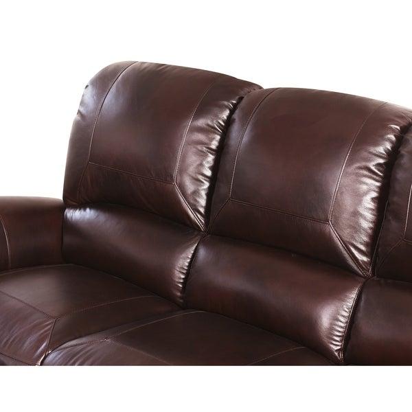 Abbyson Madison Premium Grade Leather Pushback Reclining Sofa Set   Free  Shipping Today   Overstock.com   12544012