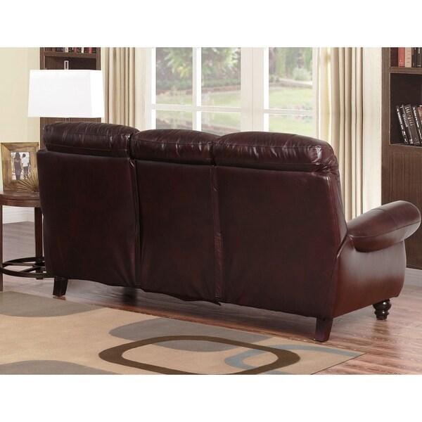 Perfect Abbyson Madison Premium Grade Leather Pushback Reclining Sofa Set   Free  Shipping Today   Overstock.com   12544012