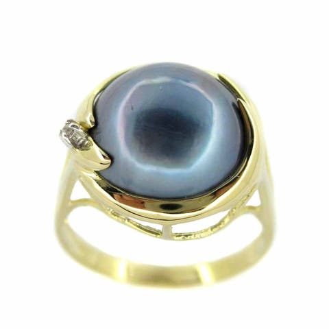 Kabella 14k Gold Mabe Pearl and 0.01ct TDW Diamond Ring (I, I3) (13 mm)