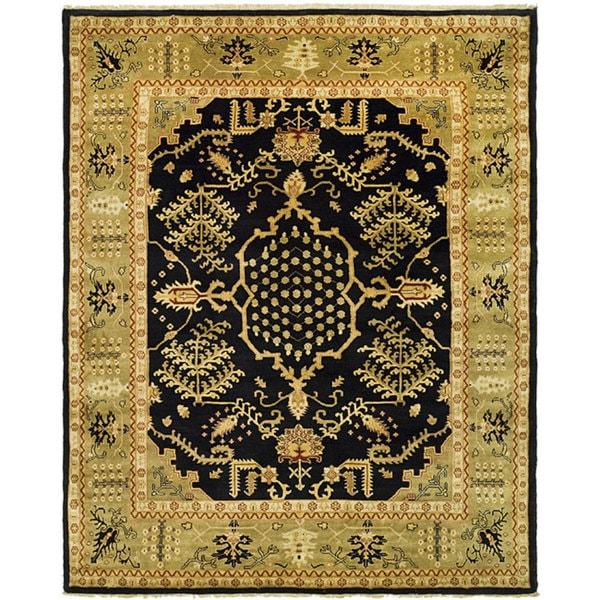 Indo Uzbek Hand-knotted Black/ Light Green Wool Rug (8'5 x 9'8)