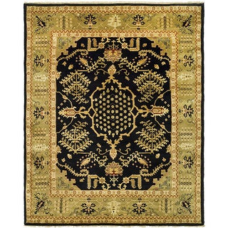 Indo Uzbek Hand-knotted Black/ Light Green Wool Rug (9'5 x 11'8)
