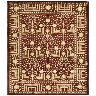 Indo Kazak Hand-knotted Maroon Wool Rug (6' x 9')