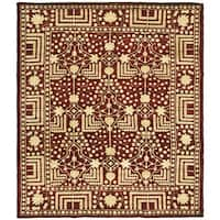 Handmade Safavieh Couture Kazak Maroon Wool Area Rug (India) - 9' x 12'