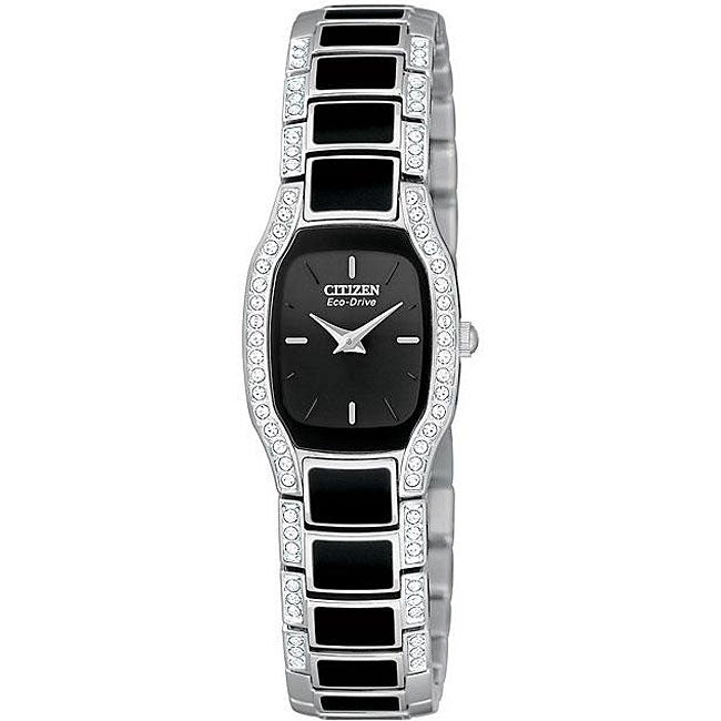 Shop citizen women 39 s eco drive normandie black resin watch free shipping today for Black resin ladies watch