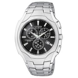 Citizen Men's Eco-Drive Black-Dial Stainless-Steel Chronograph Watch