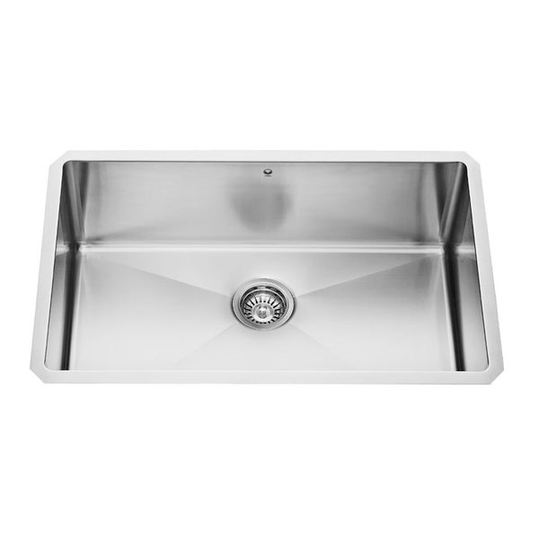 VIGO 30 Inch Undermount Stainless Steel 16 Gauge Single Bowl Sink With Rounded Edge