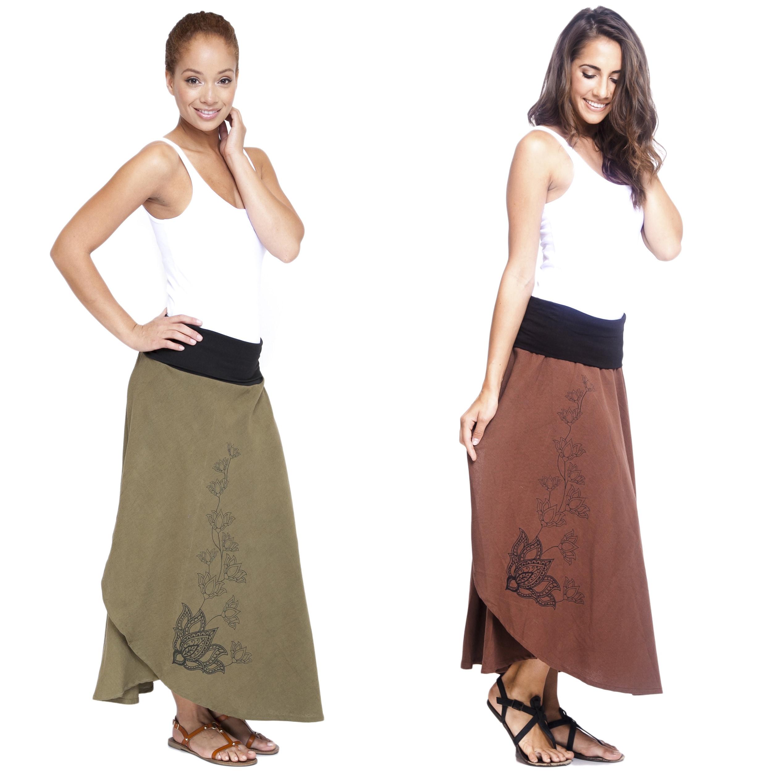 Women's Soft Cotton Boho-chic Lotus Vine Faux Wrap Skirt (Nepal)