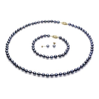 DaVonna 14k Gold Black Akoya Pearl Necklace Bracelet and Earring Set (5.5-6 mm)