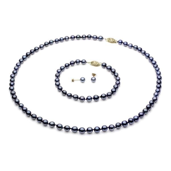DaVonna 14k Gold Black Akoya Pearl Necklace Bracelet and Earring Set (5.5-6 mm)