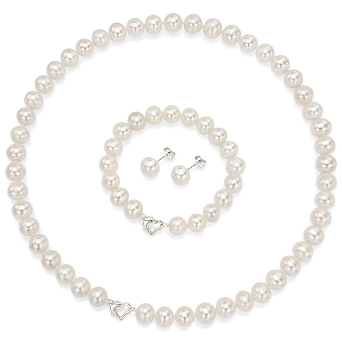 """NEW 8-9mm White Akoya Cultured Pearl Necklace Earring 18/"""" NO BOX"""