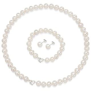 DaVonna Heart Shape Sterling Silver 8-9mm Freshwater Pearl Necklace Bracelet Earring Jewelry S