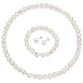 DaVonna Heart Shape Sterling Silver 8-9mm White Freshwater Pearl Necklace Bracelet Earring Jewelry S
