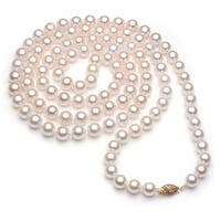 DaVonna 14k Gold White Akoya Pearl High Luster 30-inch Necklace (6.5-7 mm)