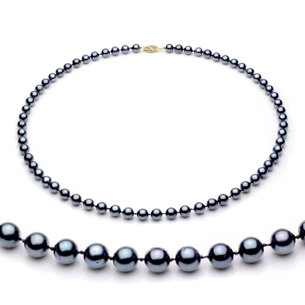DaVonna 14k Gold Black Akoya Pearl High Luster 36-inch Necklace (6.5-7 mm)