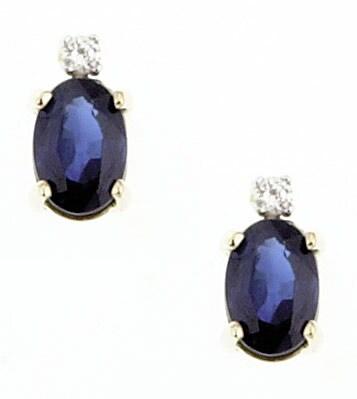 Marquee Jewels 14k Yellow Gold Oval Sapphire Diamond Earrings