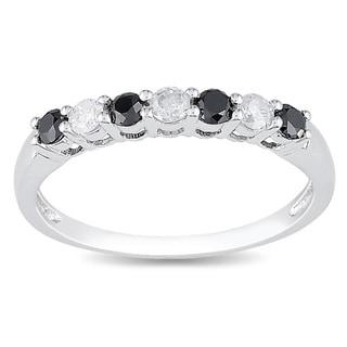 Miadora 10k Gold 1/2ct TDW Black and White Diamond Ring