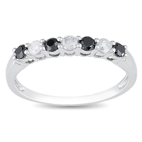 Miadora 10k Gold 1/2ct TDW Black and White Diamond Ring
