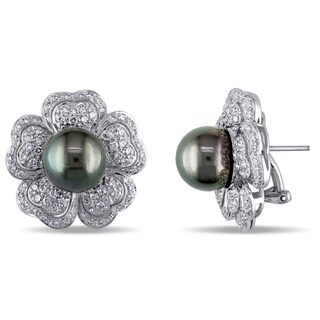 Miadora Signature Collection 18k Gold Tahitian Pearl 1 1/2ct TDW Diamond Earrings (G-H, SI2-I1) (10.5-11 MM)