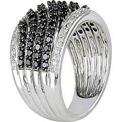 Miadora 10k Gold 1ct TDW Black and White Diamond Ring - Thumbnail 1