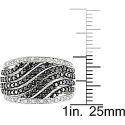 Miadora 10k Gold 1ct TDW Black and White Diamond Ring - Thumbnail 2