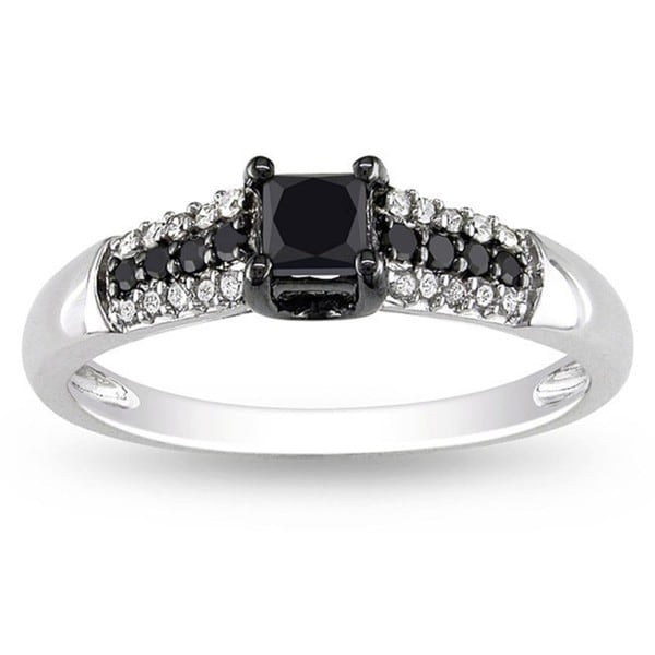 Miadora 10k Gold 1/2ct TDW Black and White Princess-cut Diamond Ring