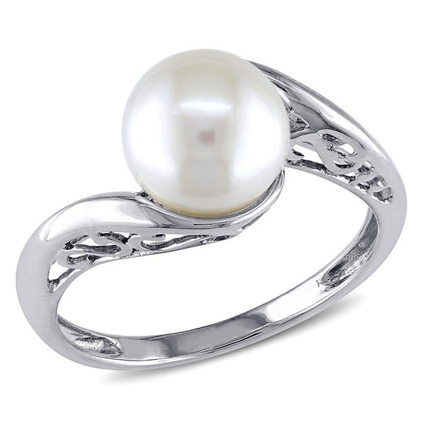 f8221fa61 Shop Miadora 10k White Gold Cultured Freshwater Pearl Ring (8-8.5 mm ...