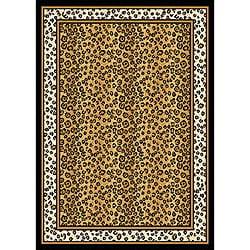 Leopard Border Area Rug (5'2 x 7'4)