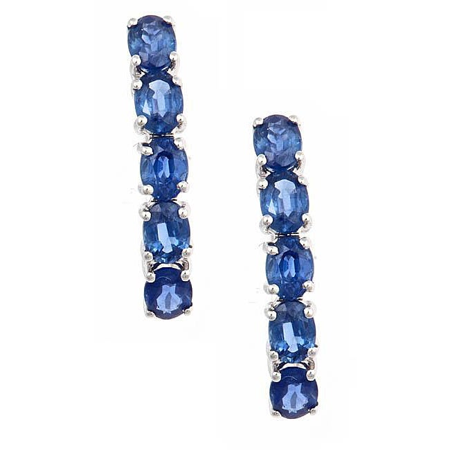 D'Yach 14k White Gold Oval Blue Sapphire Earrings