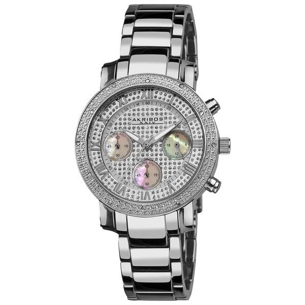 Akribos XXIV Women's Stainless Steel Diamond Multifunction Chronograph Silver-Tone Bracelet Watch