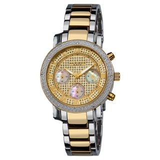 Akribos XXIV Women's Diamond Quartz Chronograph Round Gold-Tone Bracelet Watch