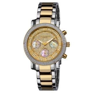 Akribos XXIV Women's Diamond Quartz Chronograph Round Gold-Tone Bracelet Watch