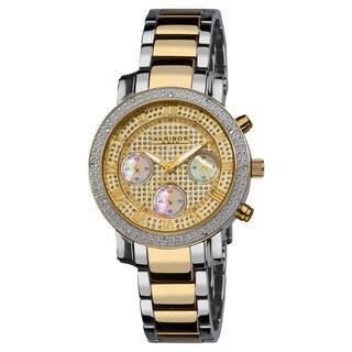 Akribos XXIV Women's Diamond Quartz Chronograph Round Gold-Tone Bracelet Watch with FREE Bangle