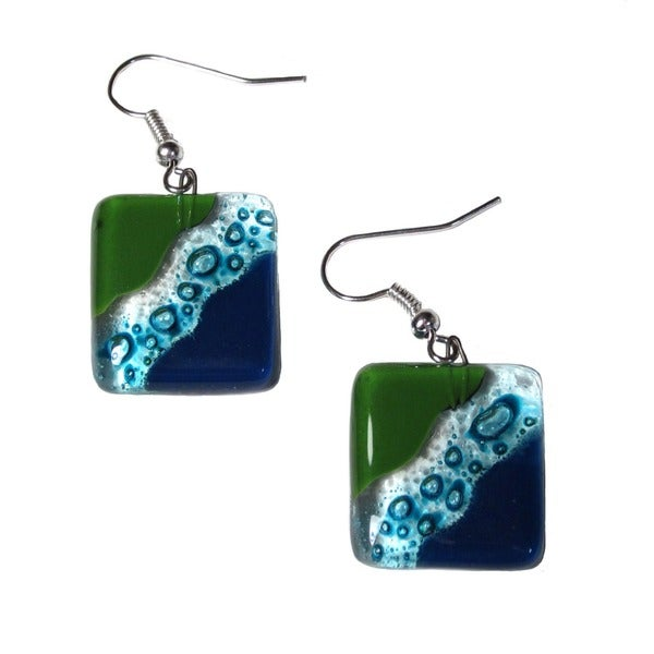 Handmade Fused Glass Ocean River Meadow Earrings (Chile)