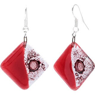 Handmade Deep Passion Fused Glass Earrings (Chile)