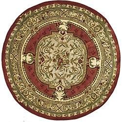 Safavieh Handmade Classic Burgundy/ Beige Wool Rug (6' Round)
