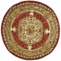 Safavieh Handmade Classic Burgundy/ Beige Wool Rug - 6' x 6' Round