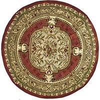 Safavieh Handmade Classic Burgundy/ Beige Wool Rug - 8' x 8' Round