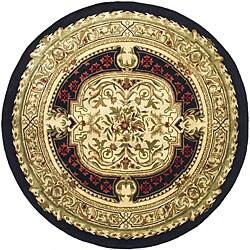 Safavieh Handmade Classic Black/ Beige Wool Rug (8' Round)