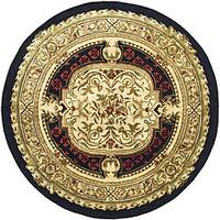 Safavieh Handmade Classic Black/ Beige Wool Rug - 8' x 8' Round