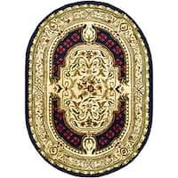 "Safavieh Handmade Classic Black/ Beige Wool Rug - 4'6"" x 6'6"" oval"