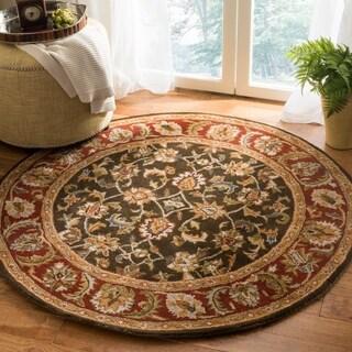 Safavieh Handmade Classic Dark Olive/ Red Wool Rug (6' Round)