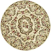 Safavieh Handmade Classic Ivory Wool Floral Rug - 8' x 8' Round