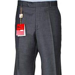 Men's Charcoal Grey Wool Flat-front Pants - Thumbnail 1