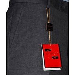 Men's Charcoal Grey Wool Flat-front Pants - Thumbnail 2