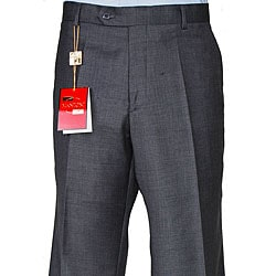 Men's Charcoal Grey Wool Flat-front Pants - Thumbnail 0