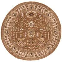 """Safavieh Handmade Classic Gold/ Ivory Wool Rug - 3'-6"""" x 3'-6"""" round"""