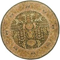 Safavieh Handmade Classic Light Green/ Gold Wool Rug - 6' x 6' Round