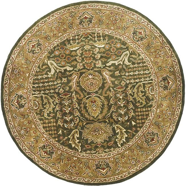 Safavieh Handmade Classic Light Green/ Gold Wool Rug (8' Round)